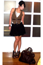brown Yves Saint Laurent bag - brown Anthem shoes - brown Zara vest
