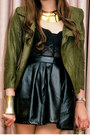 Black-leather-glitterati-skirt-army-green-wisdom-jacket