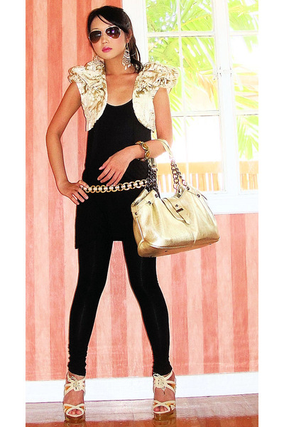 black basic skinny Zara leggings - beige online shoes - gold Kenneth Cole bag