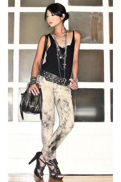 black Zara top - gray Stylebreak jeans - silver from sis necklace - black Zara b