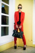 red Mango blazer - black balenciaga bag - red Zara pants - black Topshop top
