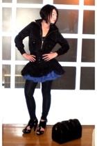 black H&M jacket - black Topshop shorts - black Mango skirt