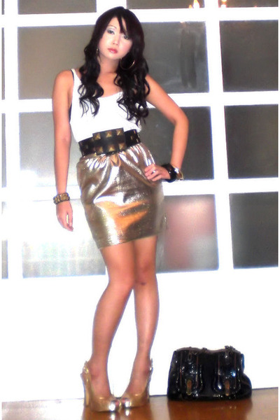 Glitterati skirt - Cintura belt - Mango top - Fendi purse - amiclubwearcom shoes