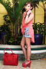 Red-celine-bag-sky-blue-redstudio-shorts-salmon-apartment-8-blouse