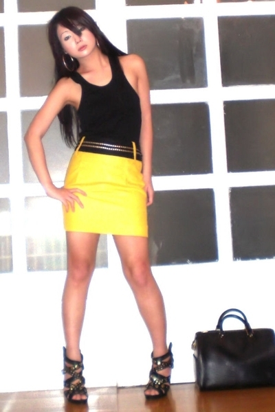 yellow Glitterati skirt - black Zoo Shoes shoes - black Louis Vuitton purse