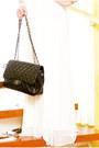 White-glitterati-dress-black-255-chanel-bag-ivory-feather-bebe-earrings