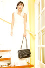 White-glitterati-dress-black-255-chanel-bag-ivory-feather-bebe-earrings