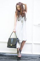 gray Celine bag - heather gray Tyler dress - silver S&H heels