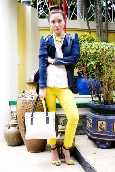 chartreuse Zara jeans - blue jhajing jacket - ivory shiq bags bag