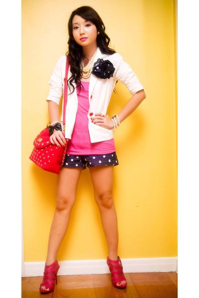 pink random from Hong Kong bag - pink online shoes - white Zara blazer