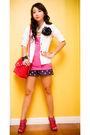 White-zara-blazer-pink-topshop-top-blue-glitterati-shorts-blue-diy-accesso