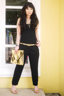 Gold-gold-dot-bag-gold-versace-belt-black-zara-romper-black-topshop-top