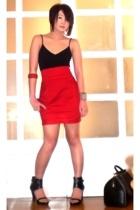red Moonshine skirt - black AmiClub shoes - black Louis Vuitton bag