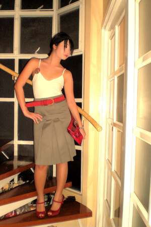 gray Zara skirt - red Nine West shoes - red bag - red Celine belt