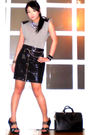 Gray-random-top-black-glitterati-skirt-black-glitterati-belt-black-online-