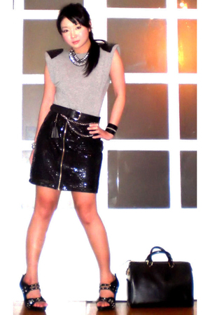 gray random top - black Glitterati skirt - black Glitterati belt - black online