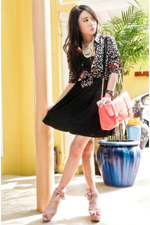 black Zara blouse - pink Topshop shoes - black Topshop dress