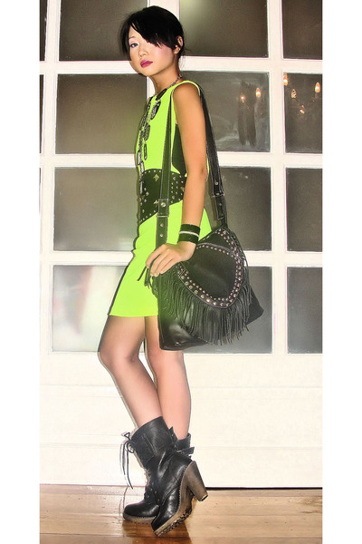 fringe studded random bag - laceup combat From Bazaar boots - Glitterati dress