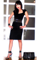 black Zara dress - black Glitterati belt - black online shoes - black Chanel pur