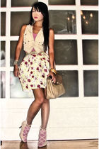 beige safari style Mango vest - beige Renegade Folk shoes - beige Nina Ricci bag
