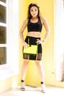 Black-pinky-toes-heels-chartreuse-37la-bag-black-forever21-skirt