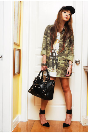army green Zara jacket - black Halves hat - eggshell Zara shirt - black Zara bag