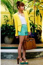 Yellow-zara-blazer-burnt-orange-hermes-bag-aquamarine-zara-shorts