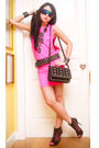 Pink-glitterati-dress-black-zara-belt-black-online-boots-black-bazaar-find
