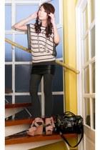 gray knit H&M tights - dark gray random bag - light pink Mango blouse - light pi