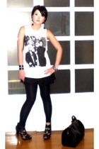 white Topshop top - black camisole Topshop top - black Topshop shoes