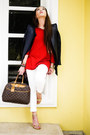 White-mango-jeans-navy-jhajing-jacket-red-zara-sweater