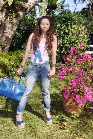 bubble gum Neon Island swimwear - turquoise blue Topshop jeans - teal YSL bag