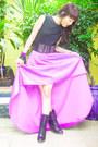 Amethyst-glitterati-skirt-black-combat-tieup-from-rockwell-bazaar-boots
