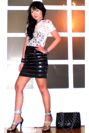 white Glitterati blouse - black Zoo Shop shoes - black 255 Chanel purse