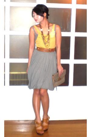 Hong Kong top - Topshop top - Moms Collection belt - Mango skirt - christian dio