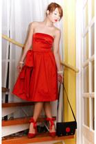 red Glitterati dress - black Louis Vuitton bag - red H&M heels - white pearl Mik