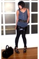 black Zara belt - black Zara shoes - black Topshop dress