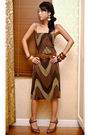 Brown-zara-dress-brown-vintage-chanel-belt-brown-nine-west-shoes-gold-earr