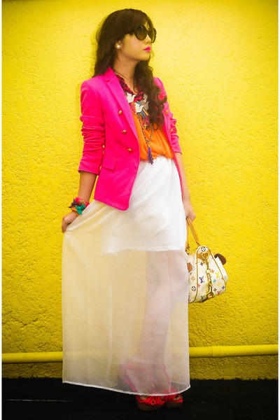 hot pink tailored Zara blazer - cream murakami Louis Vuitton bag