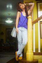 mustard S&H loafers - light blue Mango jeans - light blue chain Gucci bag