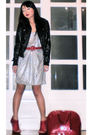 Silver-zara-dress-black-random-from-hong-kong-jacket-red-vintage-belt-red-