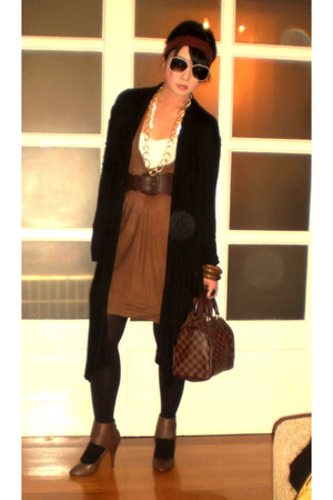 black James Perse coat - brown shoe boots Zara shoes - brown knitted Zara dress
