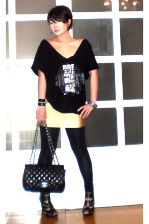 black Topshop shoes - black Zara leggings - black Chanel bag