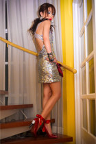 red Lanvin x H&M heels - silver Glitterati dress - red python clutch bag