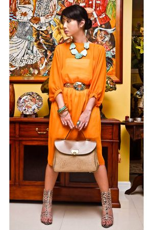 beige satchel Nina Ricci bag - beige online shoes - orange Love Vintage dress