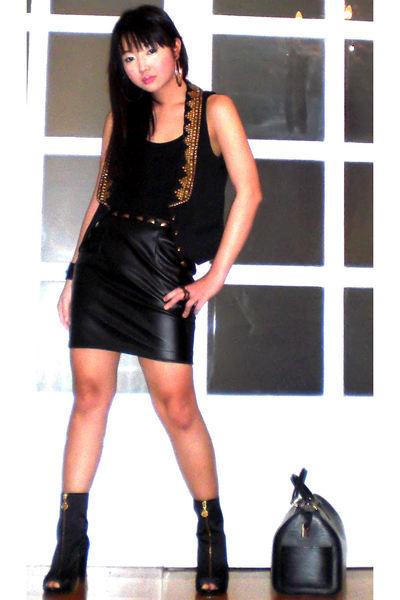 black Zara vest - black Topshop top - black Glitterati skirt - black Miss Sixty