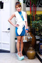 blue zoo dress - violet Gucci bag - white Zalora vest