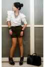 White-random-from-bazaar-blouse-green-my-brothers-shorts-black-soule-phenome