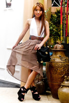 black gold hardware vintage bag - light brown mullet Fashion Galore skirt