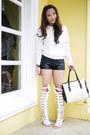 White-oath-sweater-white-shiq-bag-black-kirin-kirin-shorts